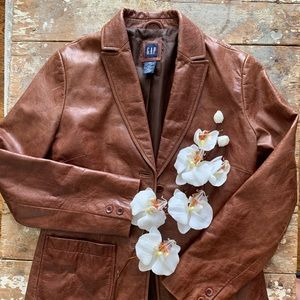 GAP Jackets & Coats - GAP Brown Leather Vintage Blazer / Jacket